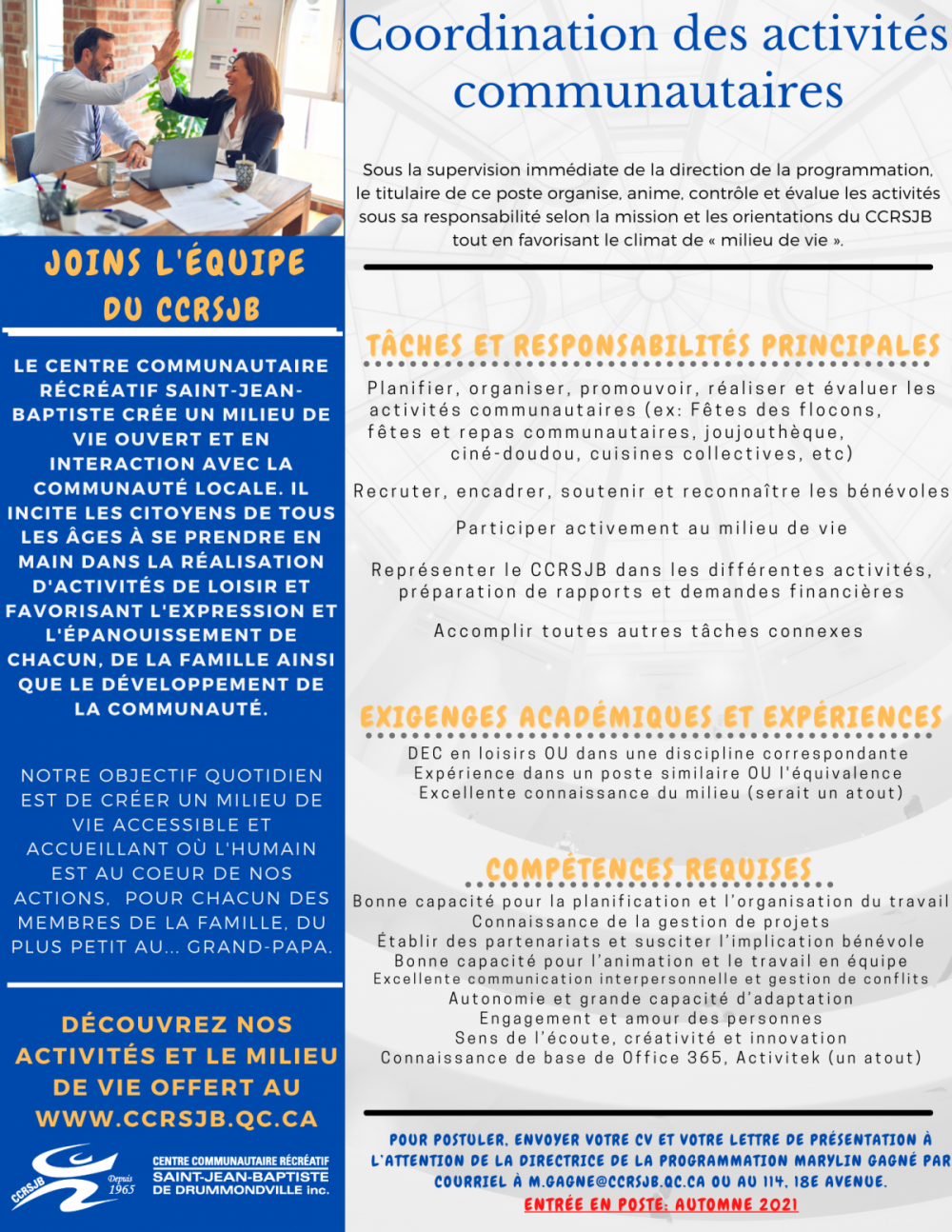 Coordination aux activités communautaires CCRSJB